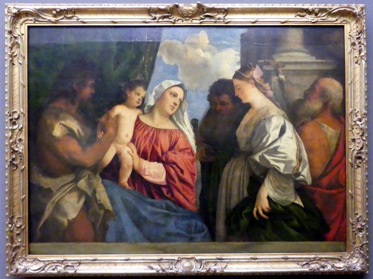 Tiziano Vecellio (Tizian): Maria mit dem Kind und vier Heiligen, um 1516 - 1520