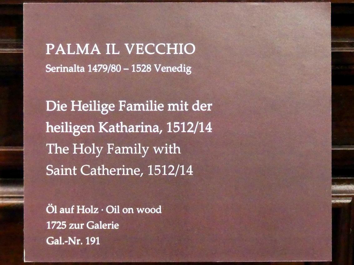 Jacopo Palma il Vecchio (Jacomo Nigretti de Lavalle): Die Heilige Familie mit der heiligen Katharina, 1512 - 1514