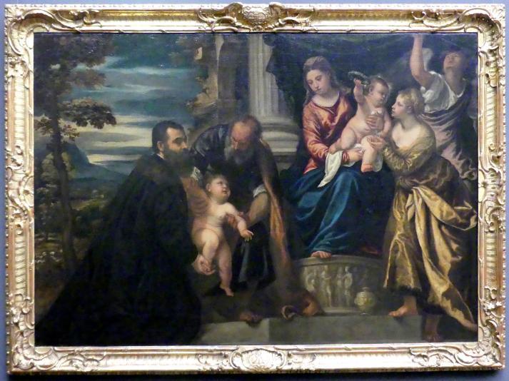 Polidoro da Lanciano: Heilige Familie mit der heiligen Magdalena und einem venezianischen Patrizier, um 1555