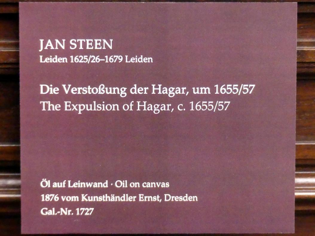 Jan Havickszoon Steen: Die Verstoßung der Hagar, Um 1655 - 1657