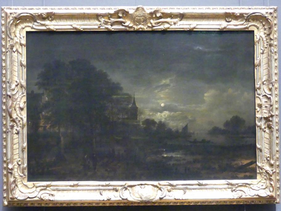 Aert van der Neer: Mondschein am Fluss vor der Stadt, um 1650