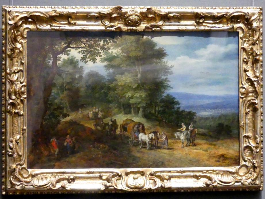 Jan Brueghel der Ältere (Blumenbrueghel): Belebter Fahrweg auf waldiger Höhe, um 1605 - 1610