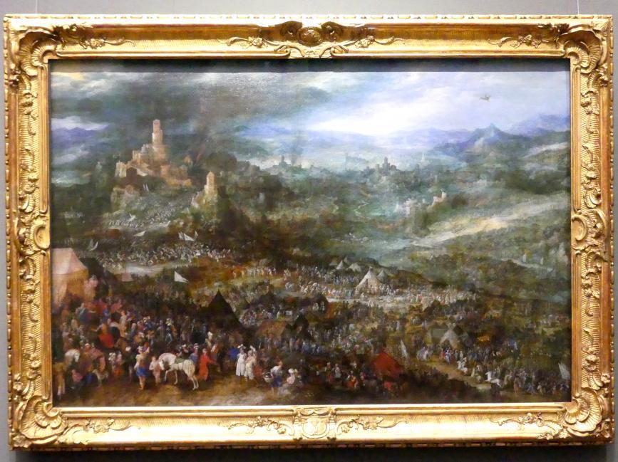 Jan Brueghel der Ältere (Umkreis): Belagerung einer Festung mit der Enthaltsamkeit des Scipio, um 1600