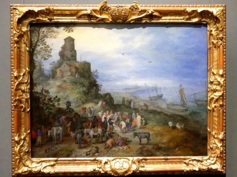 Jan Brueghel der Ältere (Blumenbrueghel): Küstenlandschaft mit der Berufung des Petrus und Andreas, 1608