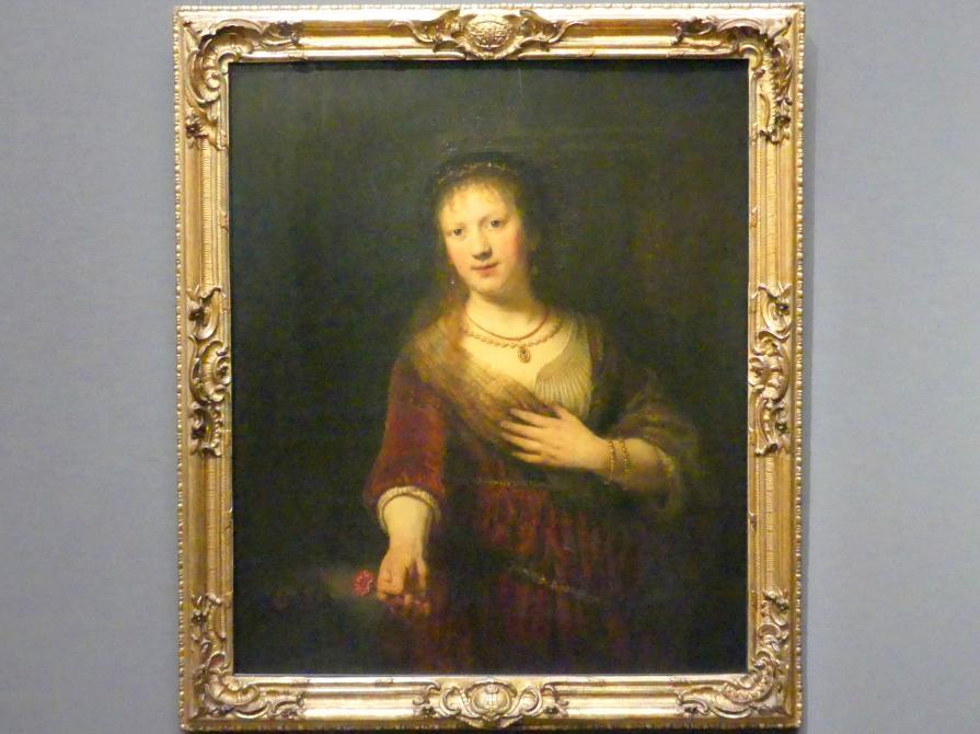 Rembrandt (Rembrandt Harmenszoon van Rijn): Saskia mit der roten Blume, 1641