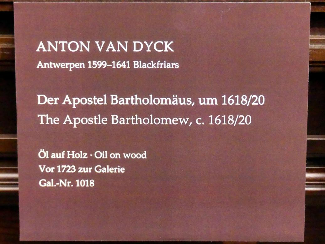 Anthonis (Anton) van Dyck: Der Apostel Bartholomäus, um 1618 - 1620, Bild 2/2