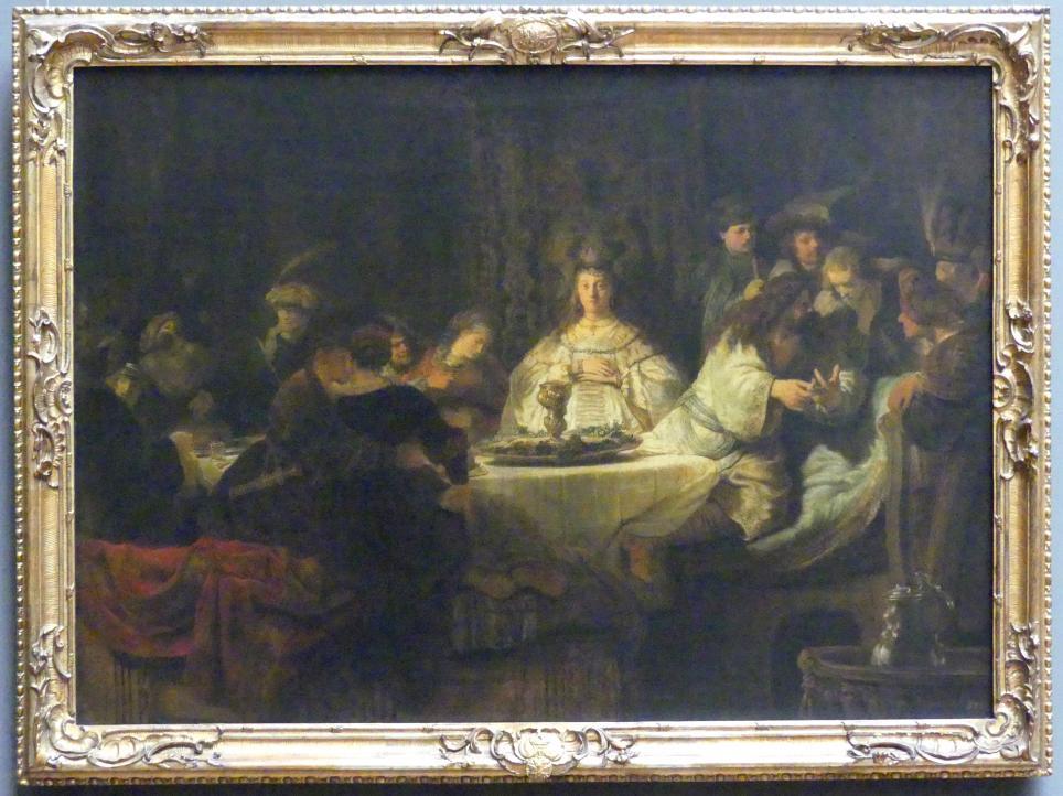 Rembrandt (Rembrandt Harmenszoon van Rijn): Simson, an der Hochzeitstafel das Rätsel aufgebend, 1638