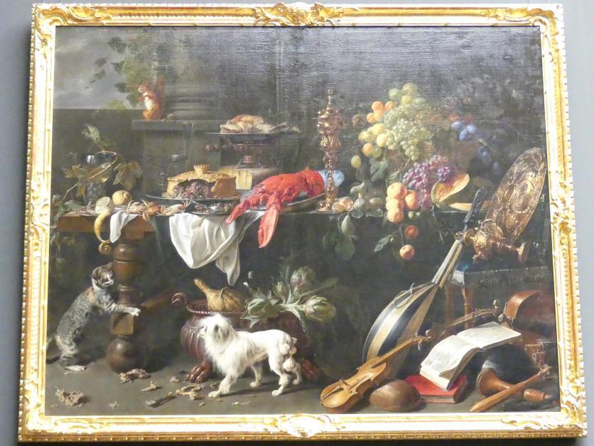 Adriaen van Utrecht: Großes Stillleben mit Hund und Katze, 1647
