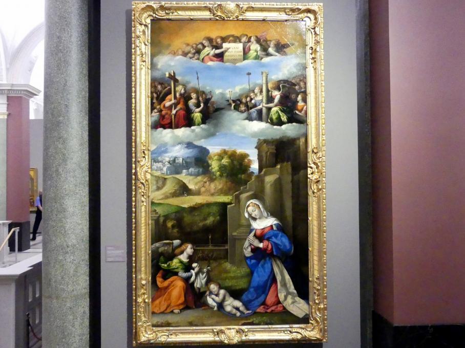 Benvenuto Tisi Garofalo: Maria in Anbetung des Kindes und Engel mit den Passionswerkzeugen, 1517