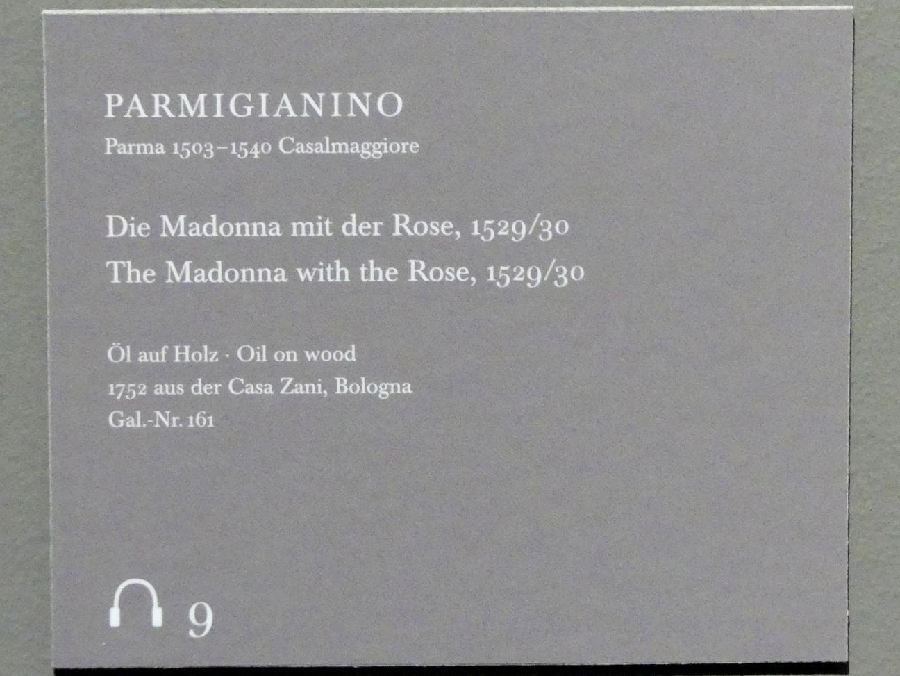 Parmigianino (Girolamo Francesco Maria Mazzola): Die Madonna mit der Rose, 1529 - 1530