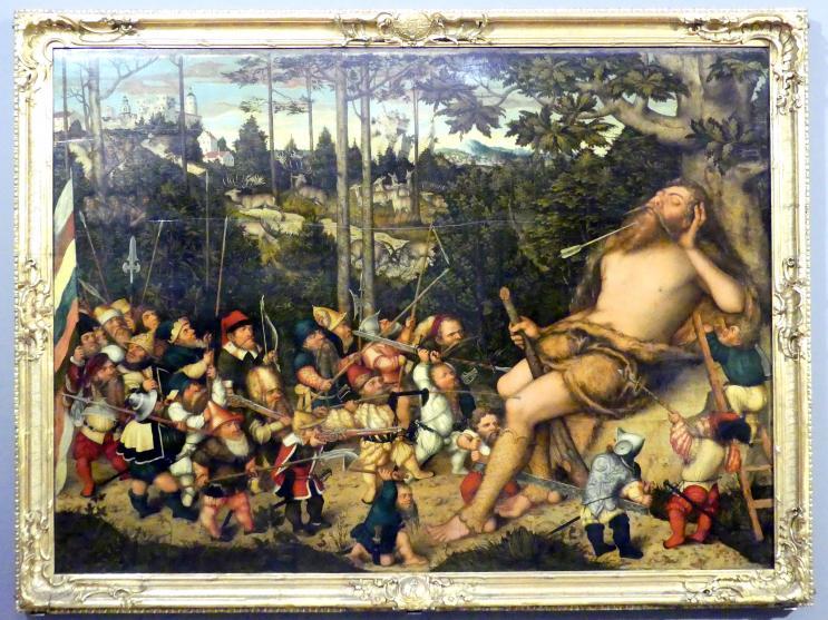 Lucas Cranach der Jüngere: Der schlafende Herkules und die Pygmäen, 1551