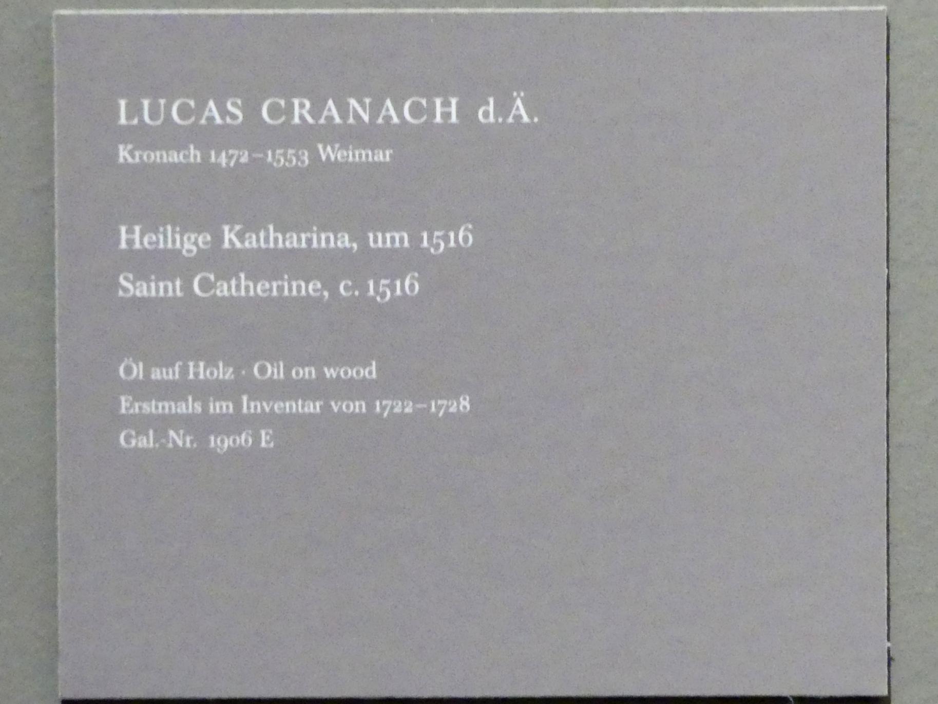 Lucas Cranach der Ältere: Heilige Katharina, Um 1516