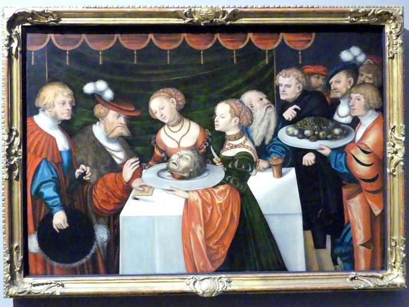 Lucas Cranach der Jüngere: Salome mit dem Haupt des Johannes des Täufers an der Tafel des Herodes, 1537