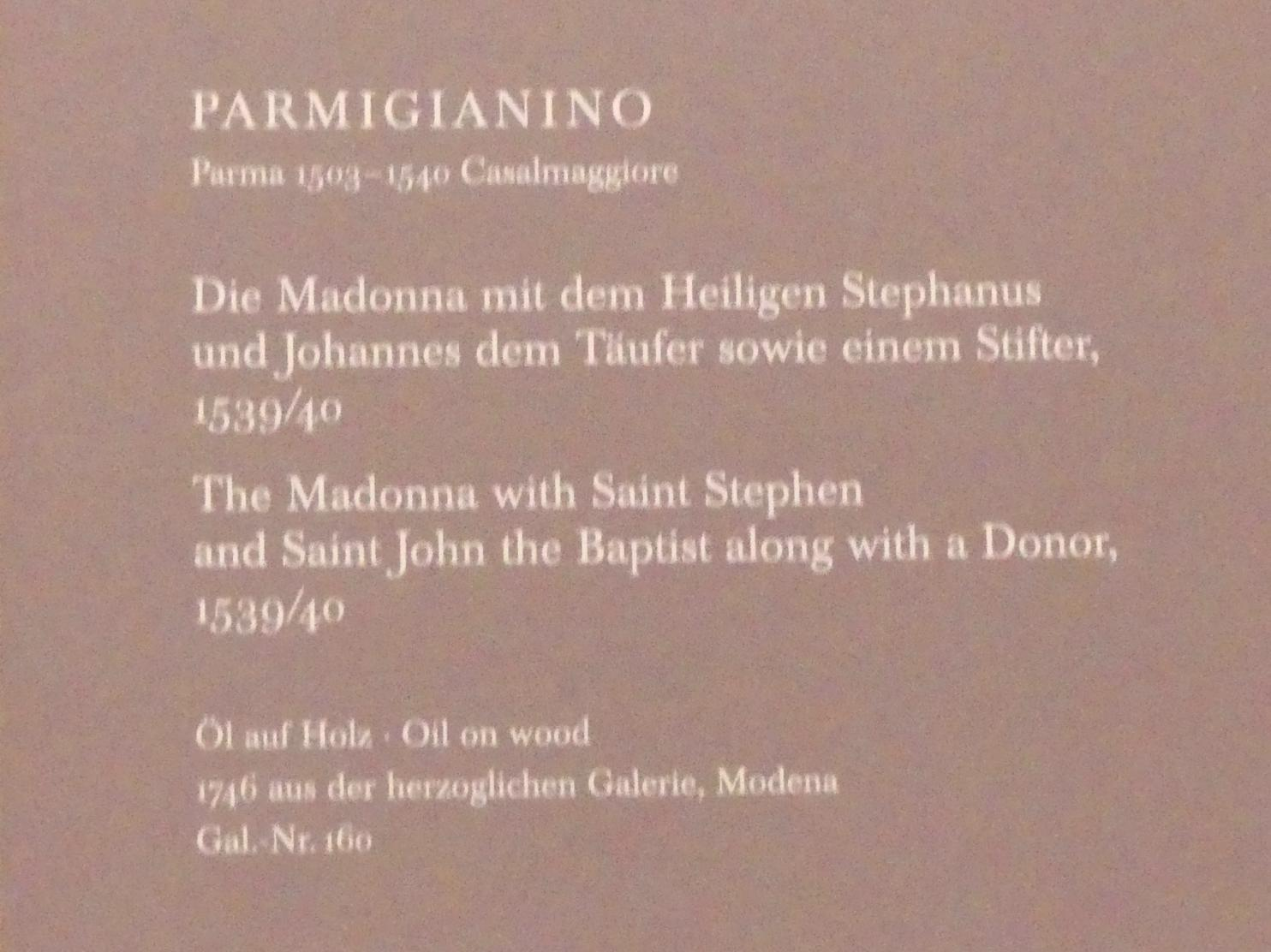 Parmigianino (Girolamo Francesco Maria Mazzola): Die Madonna mit dem Heiligen Stephan und Johannes dem Täufer sowie einem Stifter, 1539 - 1540, Bild 2/2