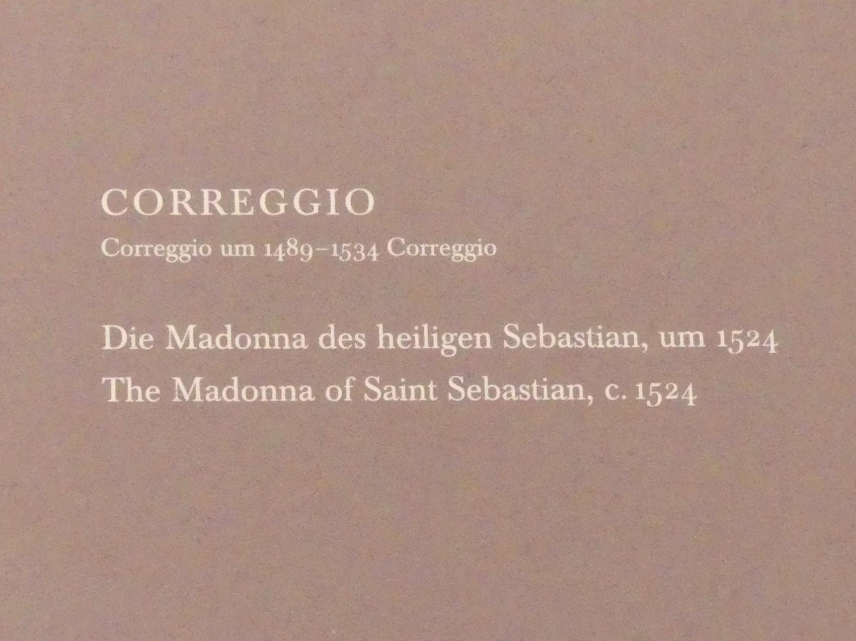 Antonio Allegri (Correggio): Die Madonna des heiligen Sebastian, Um 1524