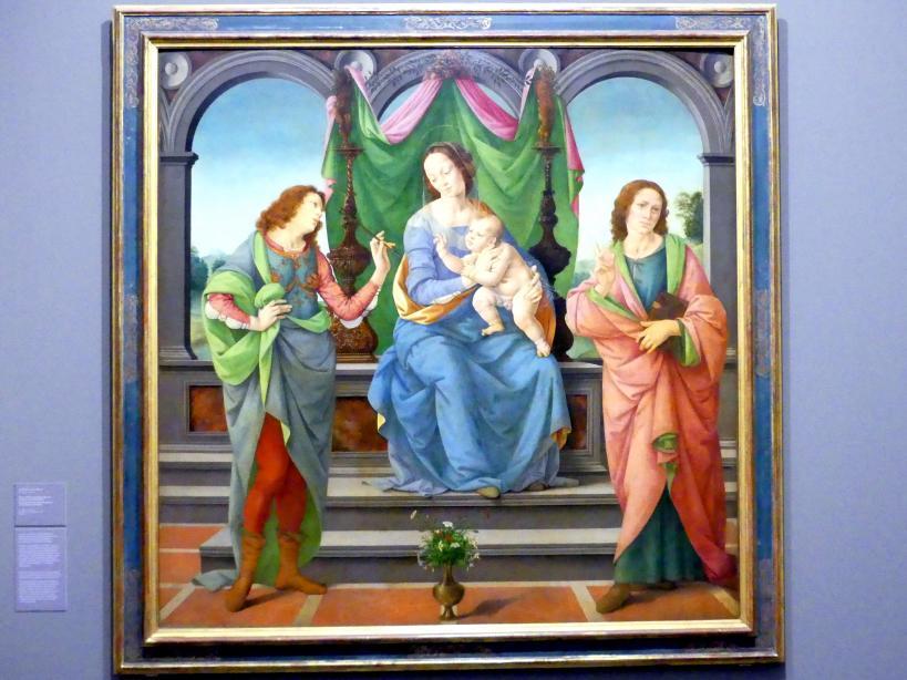 Lorenzo di Credi: Maria mit Kind, dem heiligen Sebastian und Johannes dem Evangelisten, Undatiert