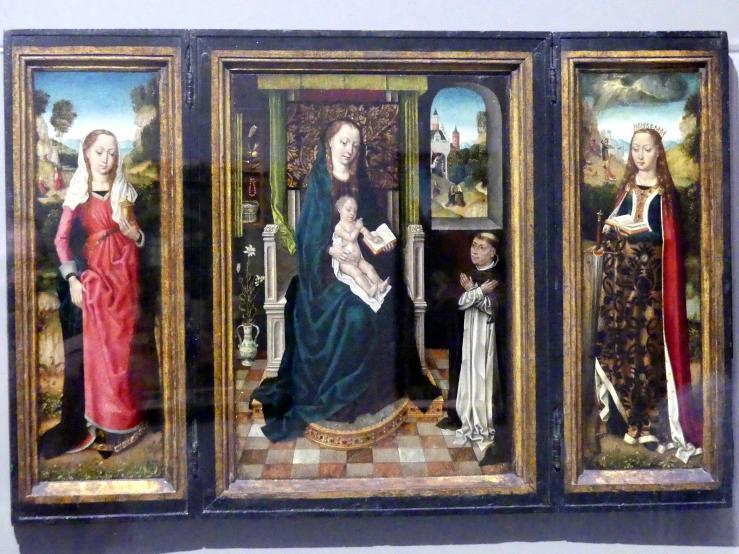 Meister der Brügger Ursulalegende: Marientryptichon mit der heiligen Magdalena und der heiligen Katharina, um 1485 - 1490