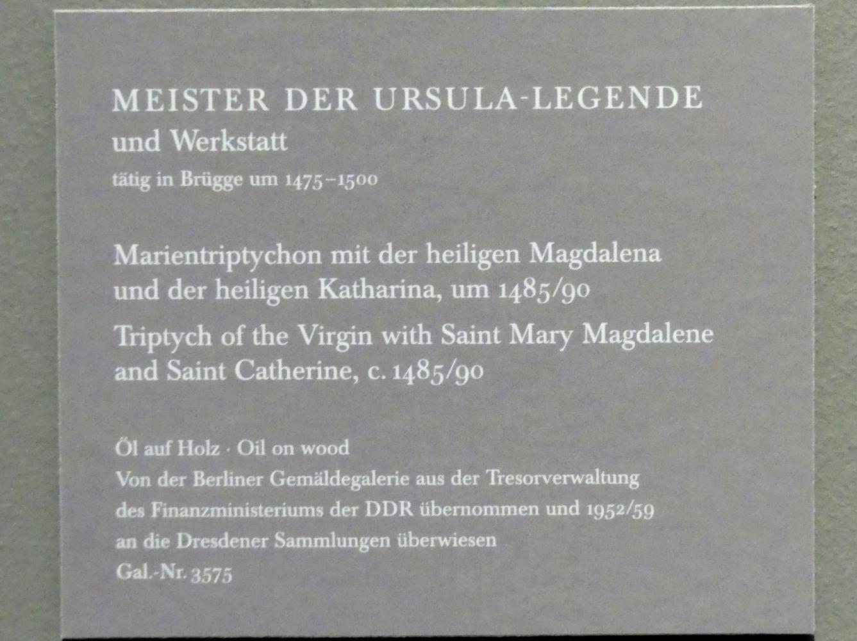 Meister der Brügger Ursulalegende: Marientryptichon mit der heiligen Magdalena und der heiligen Katharina, um 1485 - 1490, Bild 5/5