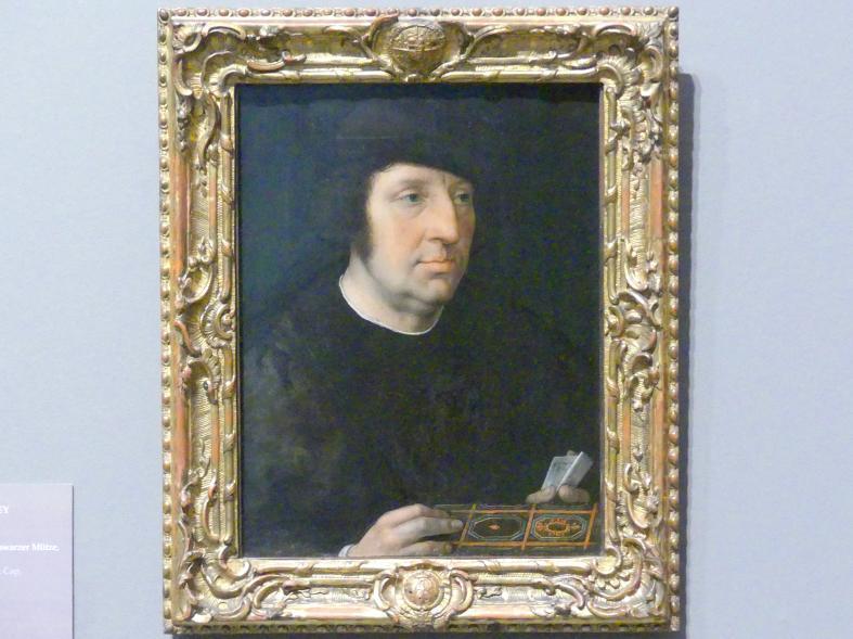 Bernard van Orley: Bildnis eines Mannes in schwarzer Mütze, um 1522 - 1527