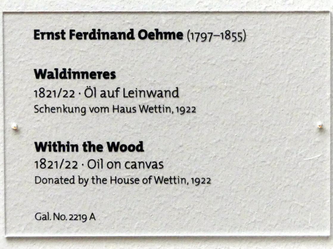 Ernst Ferdinand Oehme: Waldinneres, 1821 - 1822