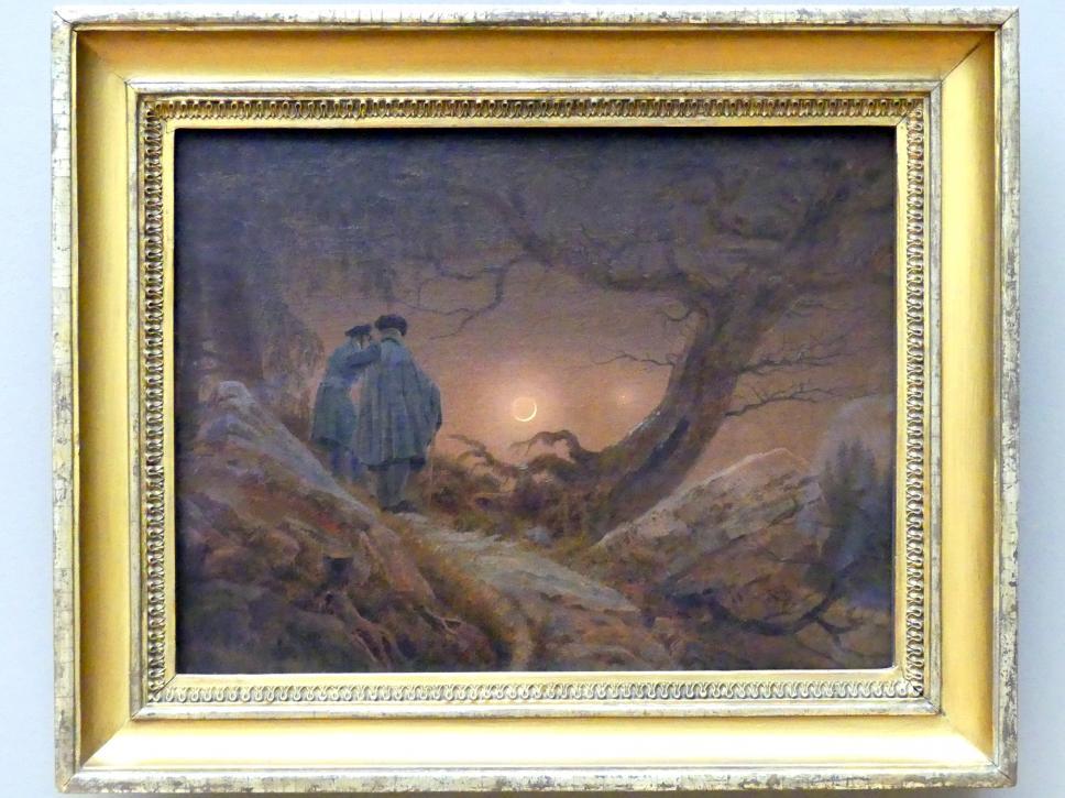 Caspar David Friedrich: Zwei Männer in Betrachtung des Mondes, 1819 - 1820