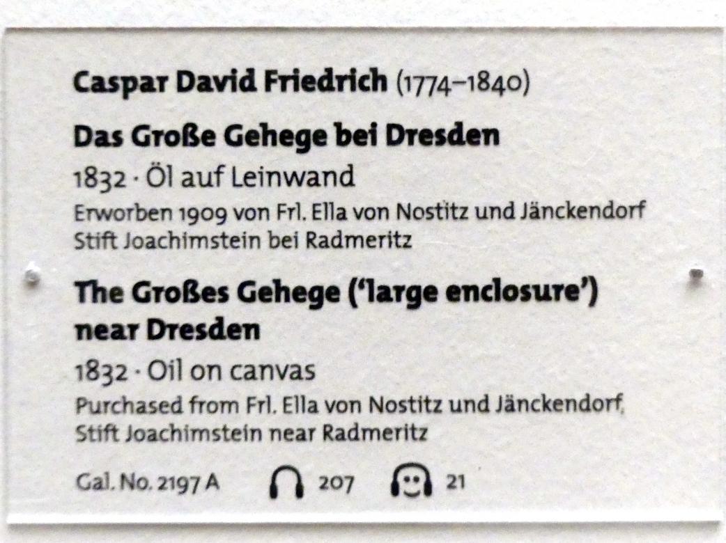 Caspar David Friedrich: Das Große Gehege bei Dresden, 1832, Bild 2/2