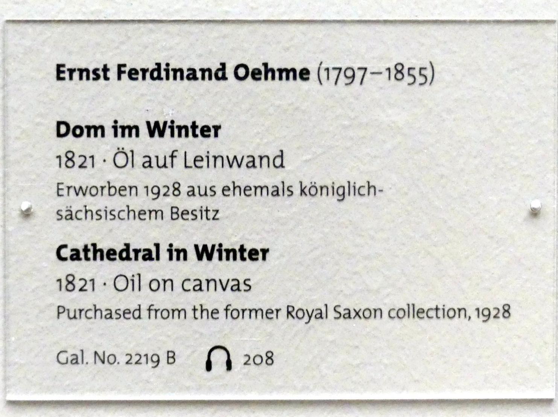 Ernst Ferdinand Oehme: Dom im Winter, 1821