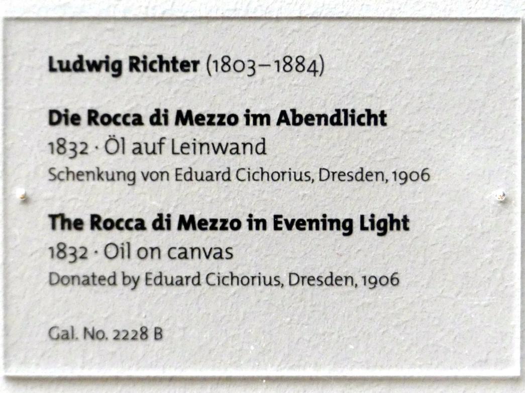 Ludwig Richter: Die Rocca di Mezzo im Abendlicht, 1832