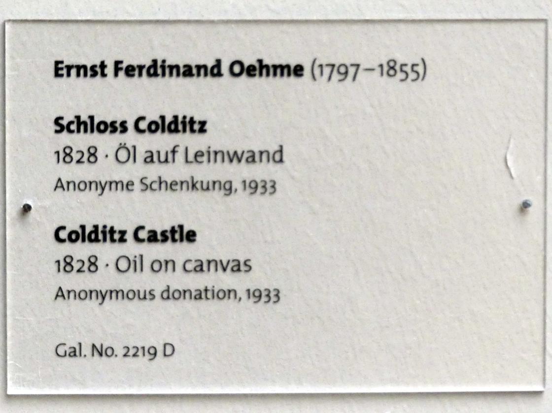 Ernst Ferdinand Oehme: Schloss Colditz, 1828