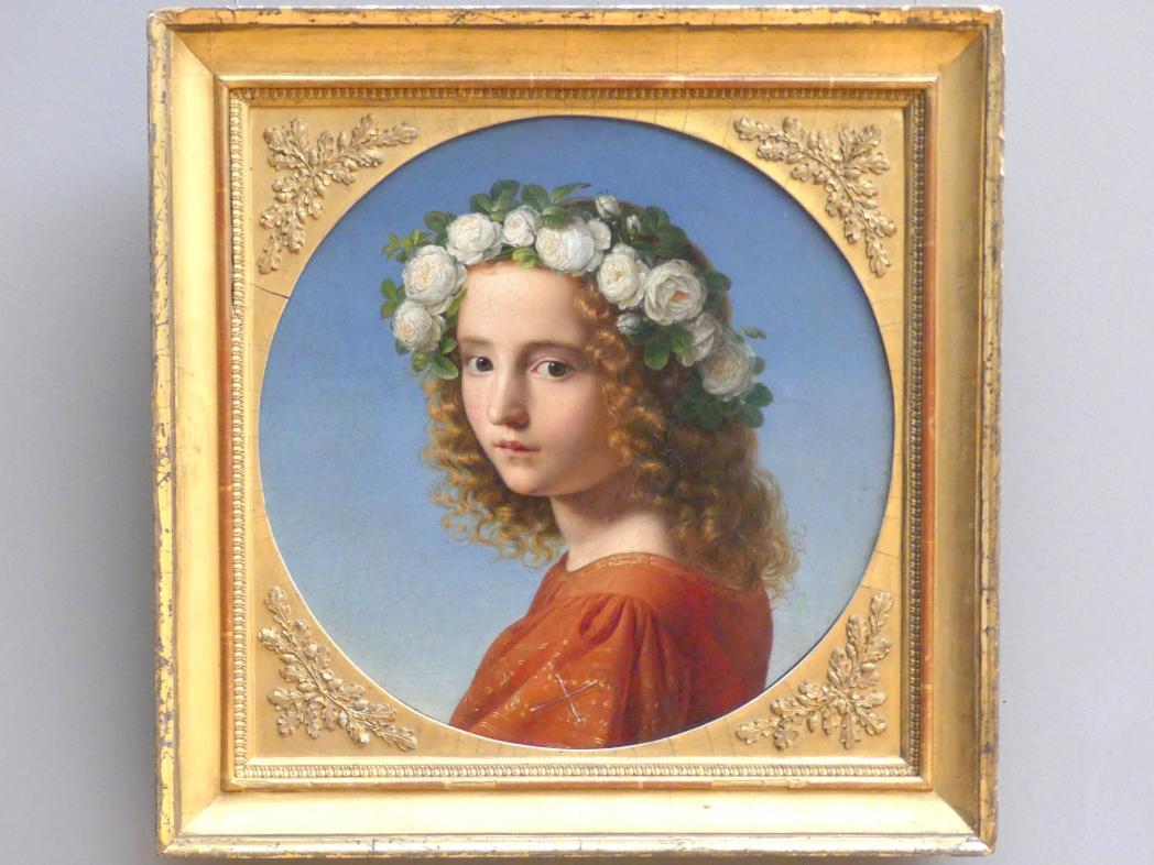 Theobald von Oer: Mädchen mit Blütenkranz im Haar, 1832
