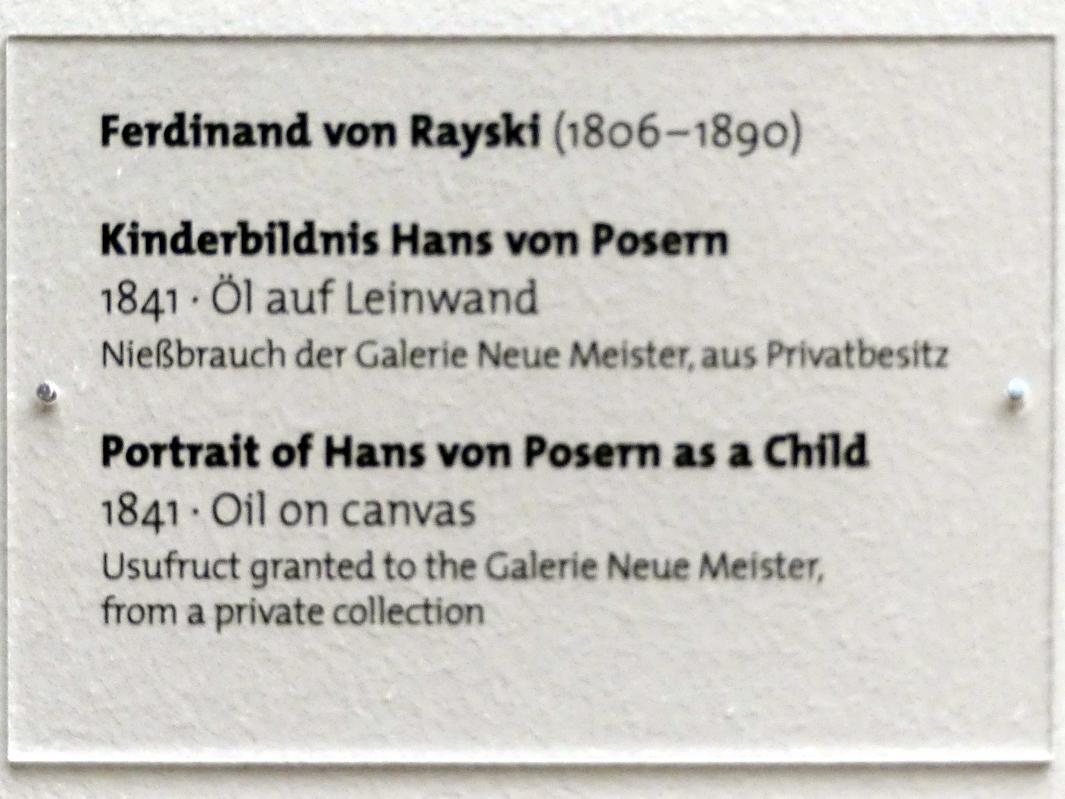 Ferdinand von Rayski: Kinderbildnis Hans von Posern, 1841, Bild 2/2