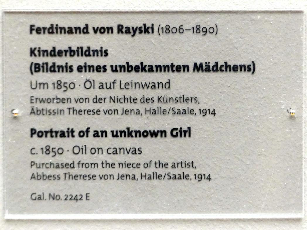 Ferdinand von Rayski: Kinderbildnis (Bildnis eines unbekannten Mädchens), um 1850, Bild 2/2