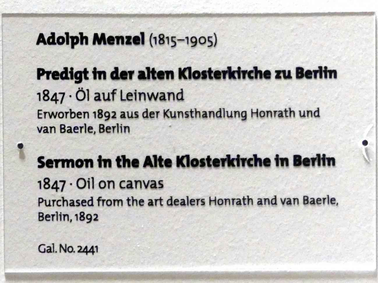 Adolph von Menzel: Predigt in der alten Klosterkirche zu Berlin, 1847, Bild 2/2