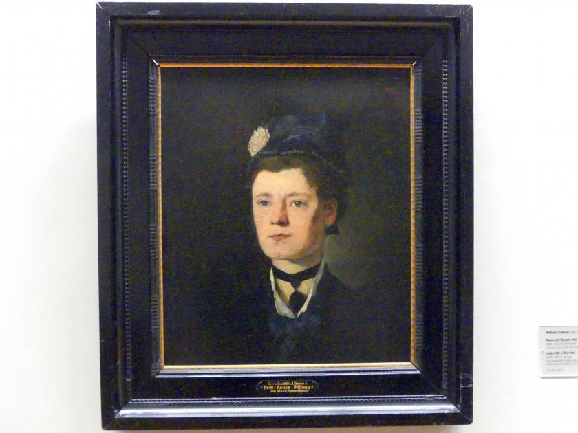 Wilhelm Trübner: Dame mit blauem Hut, 1876