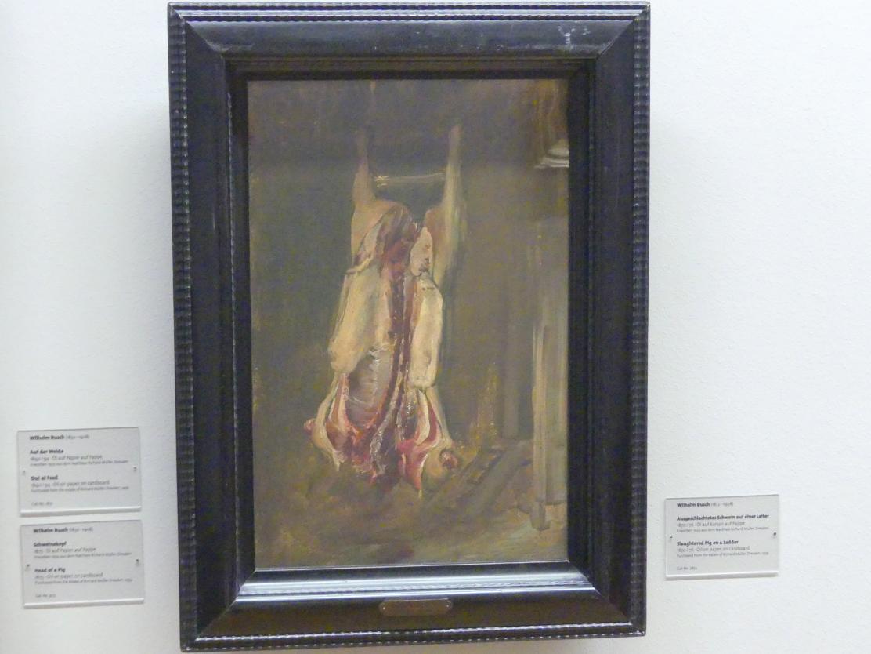 Wilhelm Busch: Ausgeschlachtetes Schwein auf einer Leiter, 1870 - 1876
