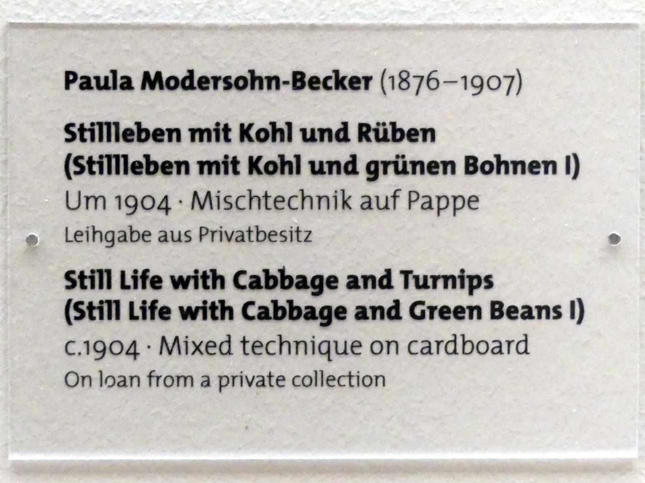 Paula Modersohn-Becker: Stillleben mit Kohl und Rüben (Stillleben mit Kohl und grünen Bohnen I), um 1904, Bild 2/2