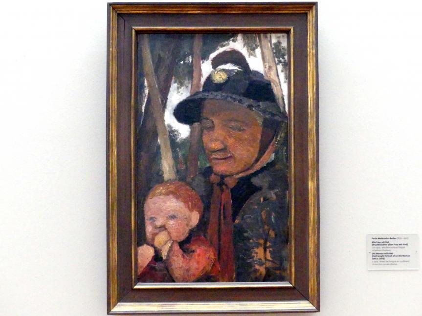 Paula Modersohn-Becker: Alte Frau mit Hut (Brustbild einer alten Frau mit Kind), um 1905