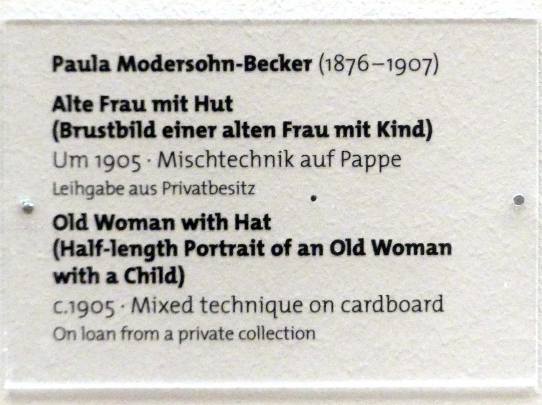 Paula Modersohn-Becker: Alte Frau mit Hut (Brustbild einer alten Frau mit Kind), um 1905, Bild 2/2