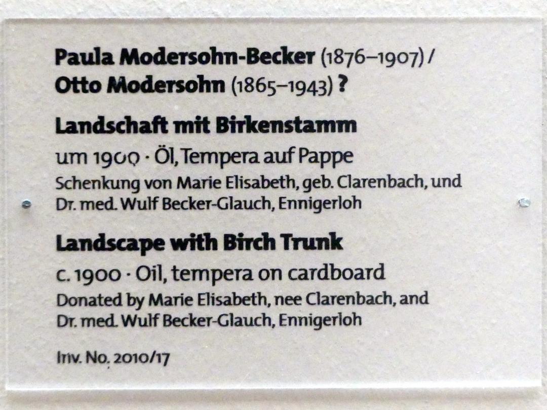 Paula Modersohn-Becker: Landschaft mit Birkenstamm, um 1900, Bild 2/2