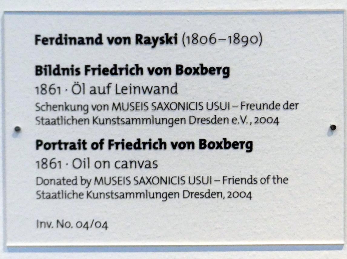 Ferdinand von Rayski: Bildnis Friedrich von Boxberg, 1861, Bild 2/2