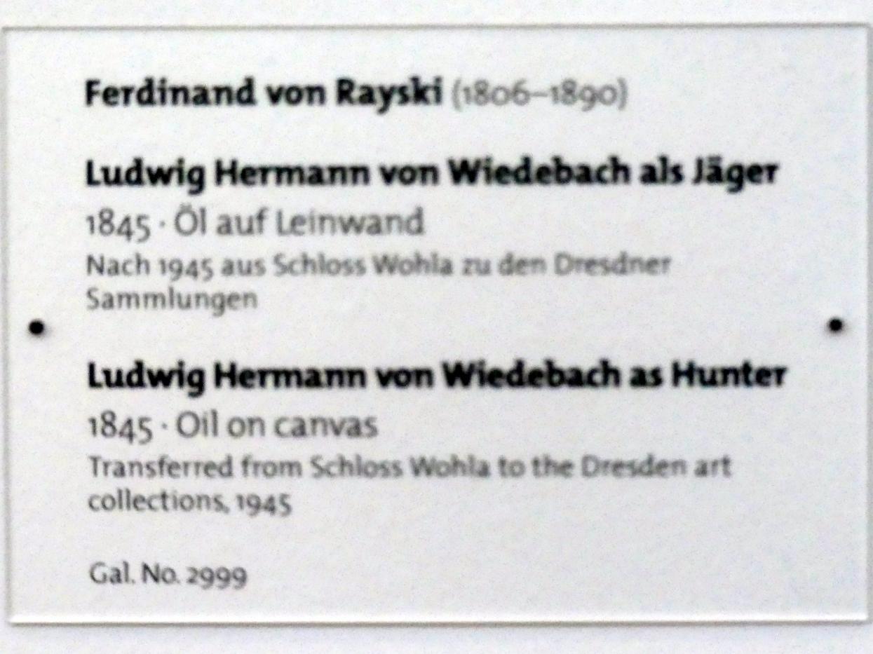 Ferdinand von Rayski: Ludwig Hermann von Wiedebach als Jäger, 1845, Bild 2/2