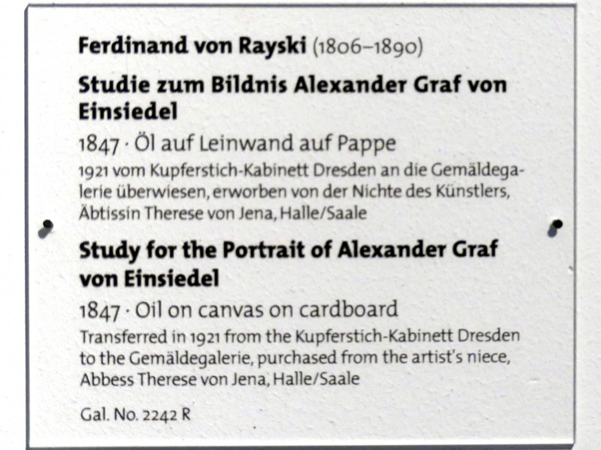 Ferdinand von Rayski: Studie zum Bildnis Alexander Graf von Einsiedel, 1847, Bild 2/2
