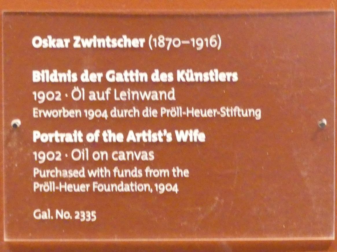 Oskar Zwintscher: Bildnis der Gattin des Künstlers, 1902, Bild 2/2