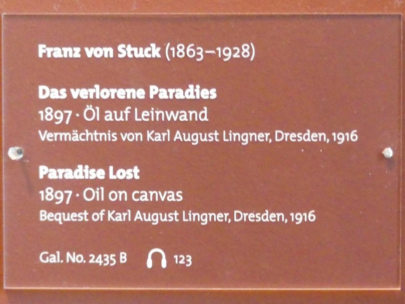 Franz von Stuck: Das verlorene Paradies, 1897, Bild 2/2