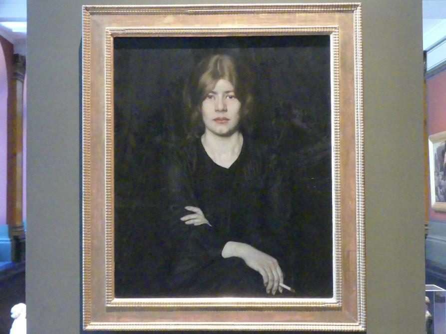 Oskar Zwintscher: Bildnis einer Dame mit Zigarette, 1904