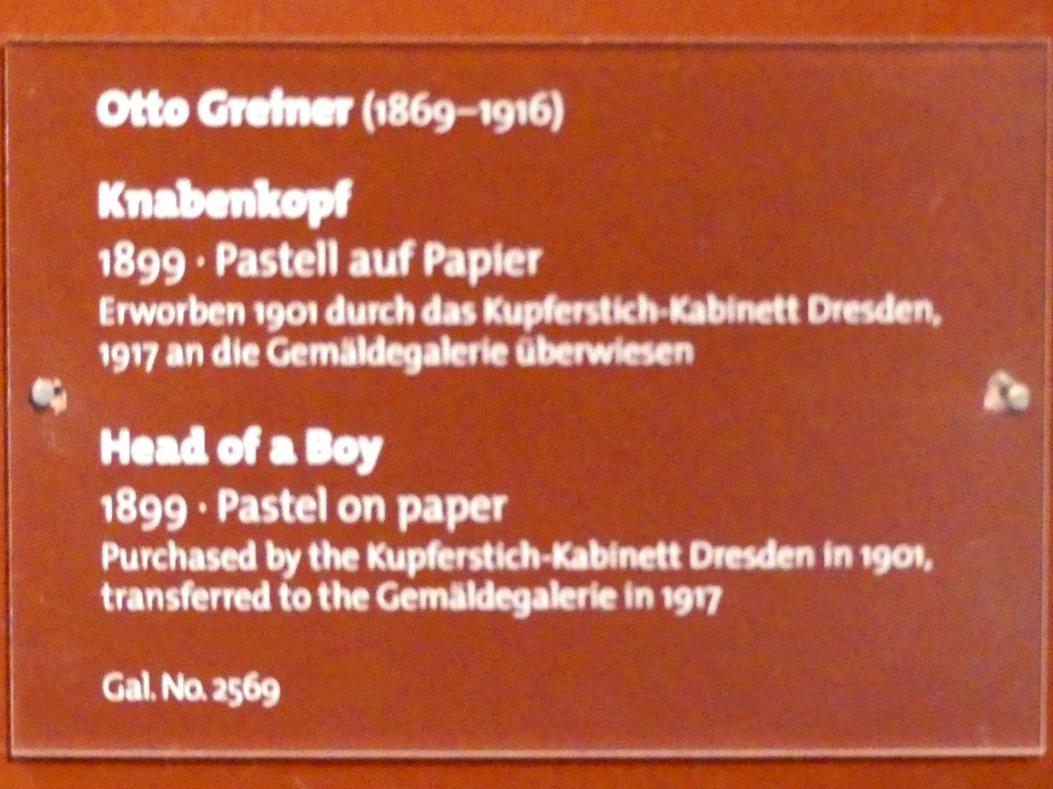 Otto Gretner: Knabenkopf, 1899, Bild 2/2