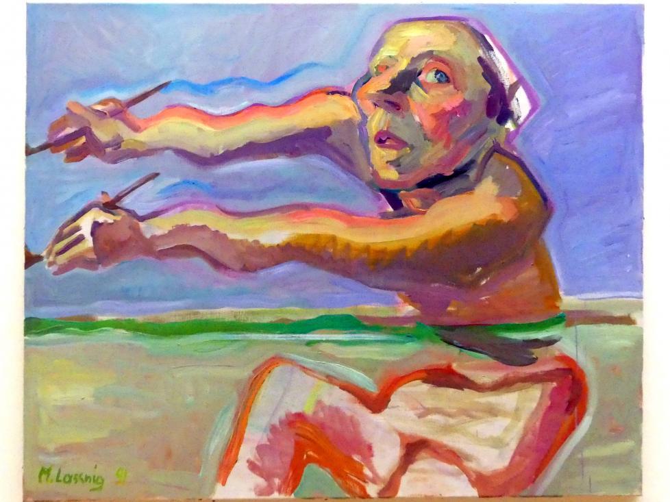 Maria Lassnig: Eilige Oberwassermalerei / Simultanmalerei / Malen mit 2 Händen, 1991