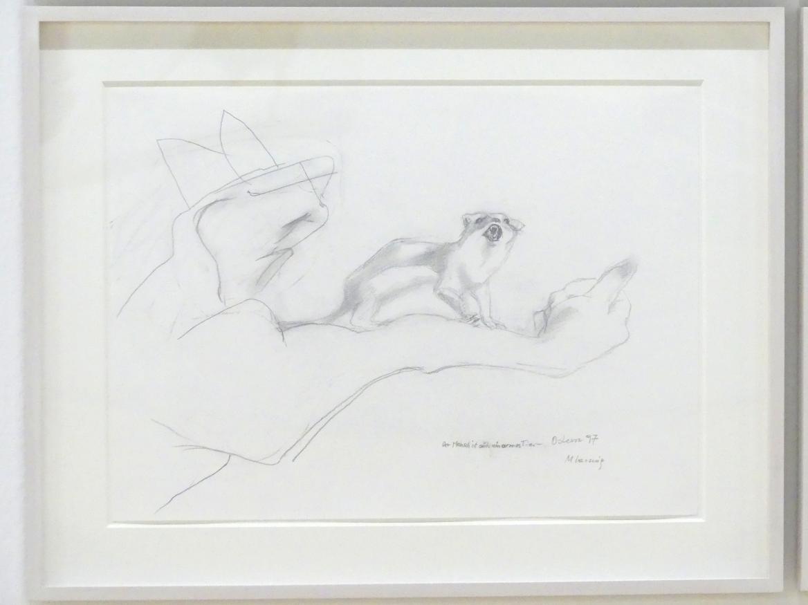Maria Lassnig: Der Mensch ist auch ein armes Tier, 1997