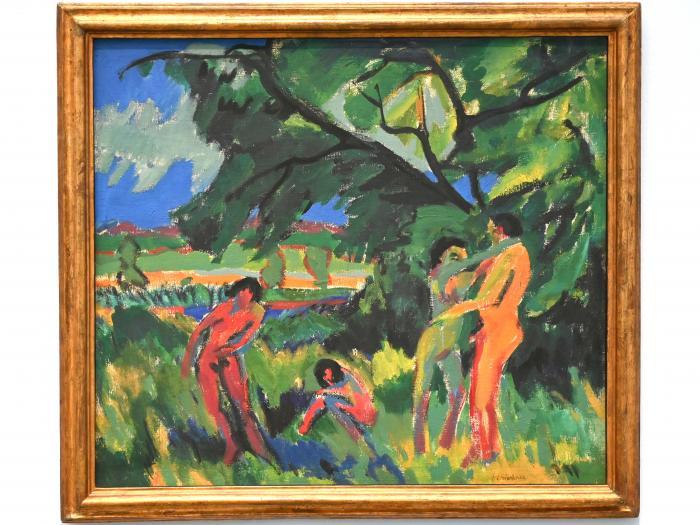 Ernst Ludwig Kirchner: Spielende nackte Menschen unter Baum, 1910