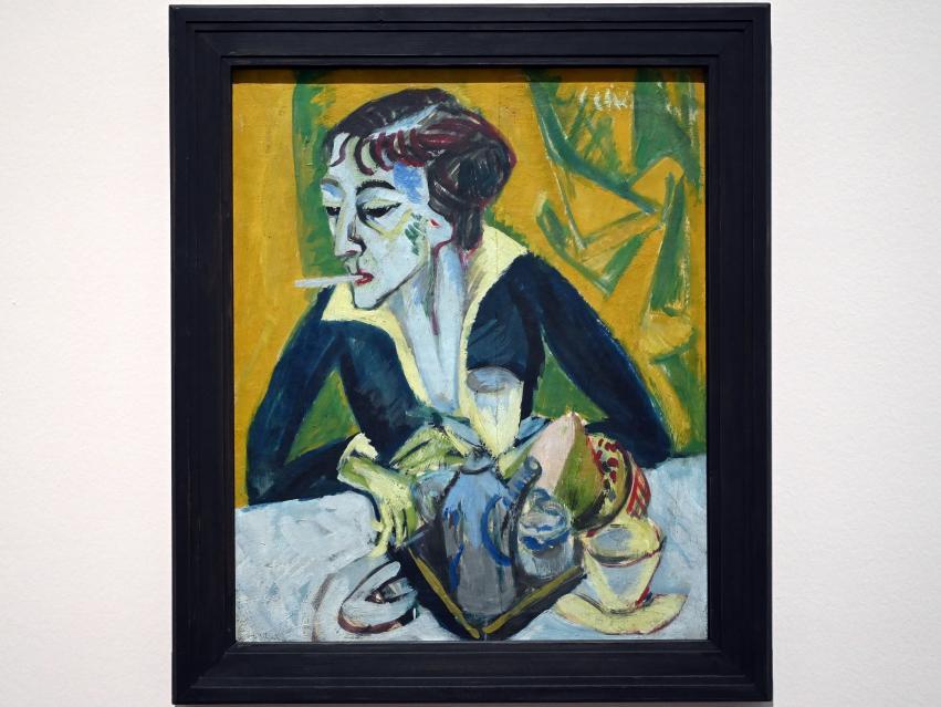 Ernst Ludwig Kirchner: Erna mit Zigarette (Ernaporträt in Blau), 1915
